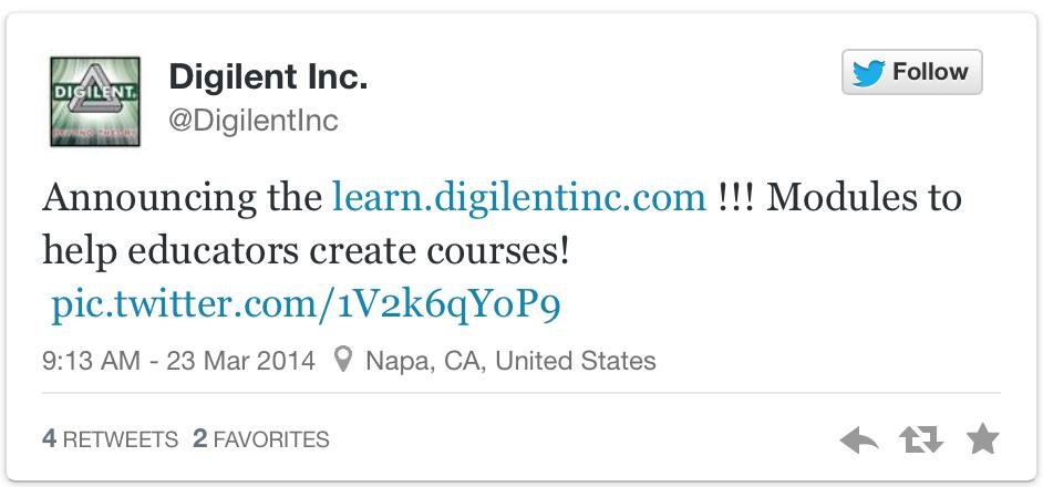 Digilent ScreenShot of Learn Site