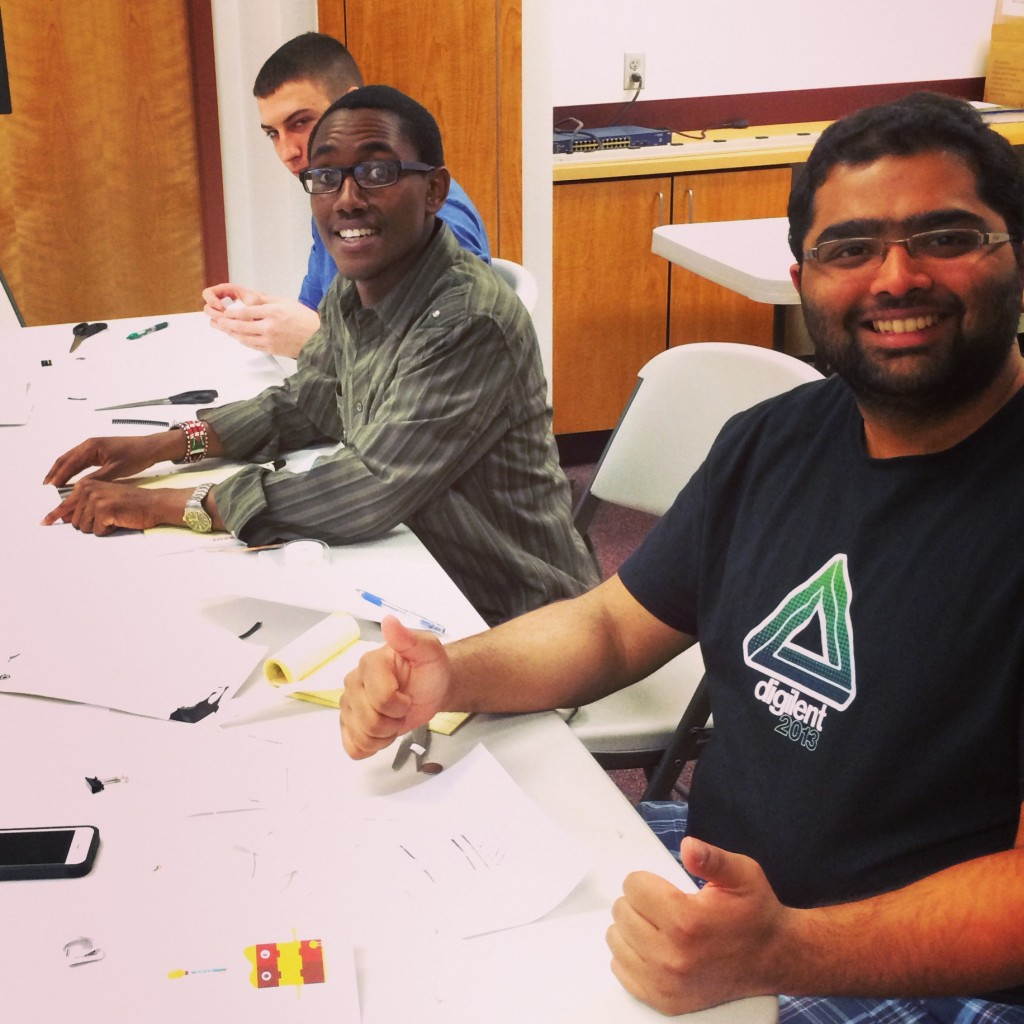Engineering Interns at the Digilent MakerSpace learning Paper Circuits