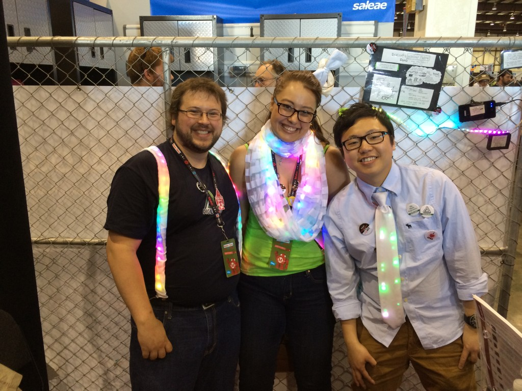 Our Maker Faire Team, decked out in LEDs.