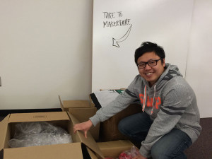 Alex getting our boxes ready to ship to Maker Faire 2014