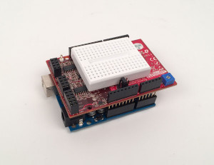 Analog Shield with it's breadboard on the Arduino Uno