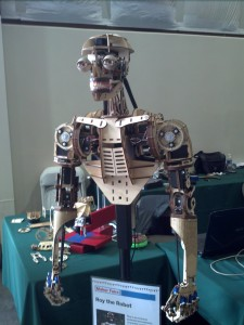 a robot skeleton that has been completely laser cut!