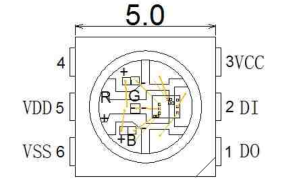 From the DataSheet- WS2812 internal circuitry