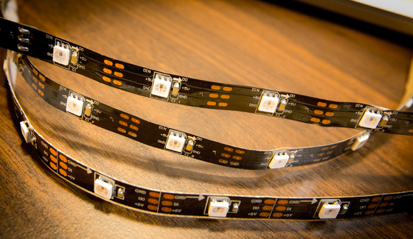 A few sections of LED strip. These have adhesive backing and can be cut with scissors in between the elements.