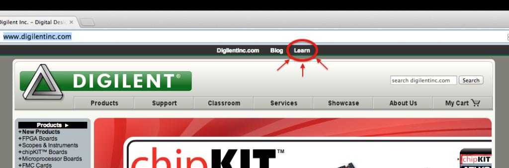 Digilent Main Learn Link
