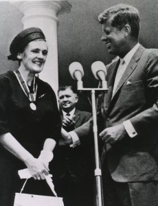 """I remembered someone who inspires me that I learned about in one of my chemistry classes — Frances Oldham Kelsey.  The reason she inspires me is because she purposefully chose not to approve something merely because it was popular in other parts of the world, but wanted facts and actual results so that she could make an informed decision.  It was through this that the United States was largely spared from the induced birth defects caused by thalidomide."""