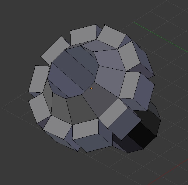 UV sphere with the top regionally extruded and the sides individually extruded.
