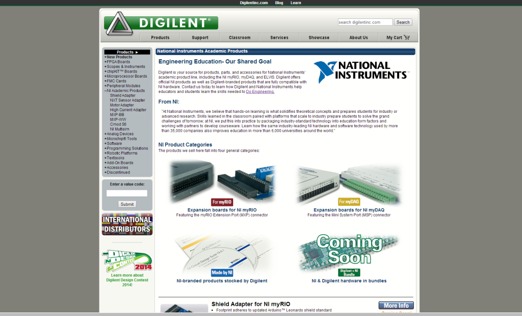 Landing page for the Digilent-NI category.