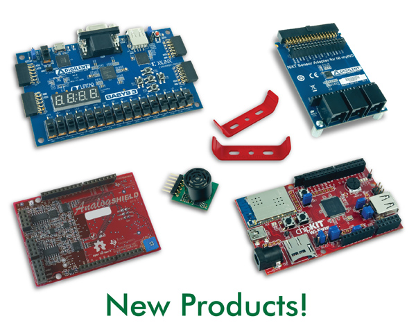 Some of our newest products, counter-clockwise from the top: zUNO Clips, the chipKIT Wi-FIRE, the Analog Shield, and the PmodMAXSONAR.