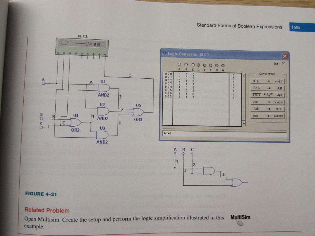 A problem in the book using Multisim to demonstrate logic minimization, a basic concept  in digital design.