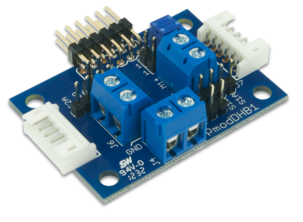 Digilent's PmodDHB1 which can drive up to two DC motors or one stepper motor.