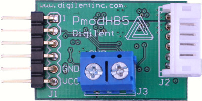 Digilent's PmodHB5 that can drive a DC motor via an H-Bridge.