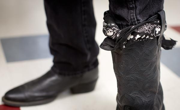 Yogi's bandana wrapped around one of Evan's favorite pair of boots.