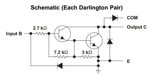 Schematic of the Darlington Transistor Pair from TI's ULN2803A.