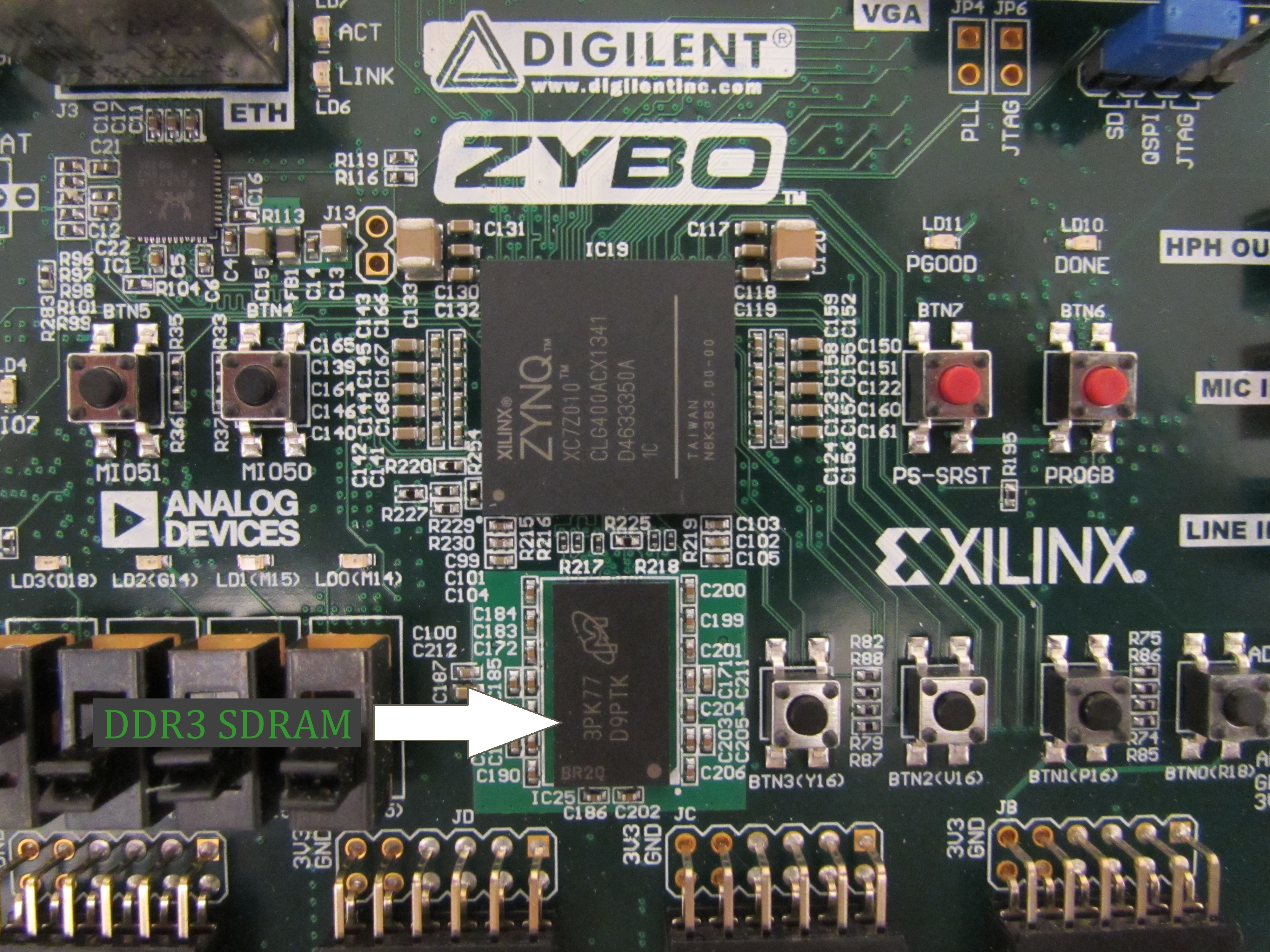 The DDR3 SDRAM chip on the ZYBO