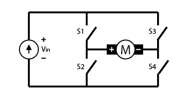 The circuitry behind a simple H-Bridge.