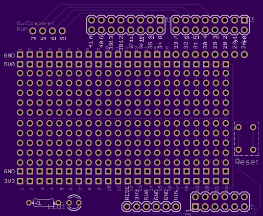 Layout of chipKIT Prototypin Shield, designed in EAGLE