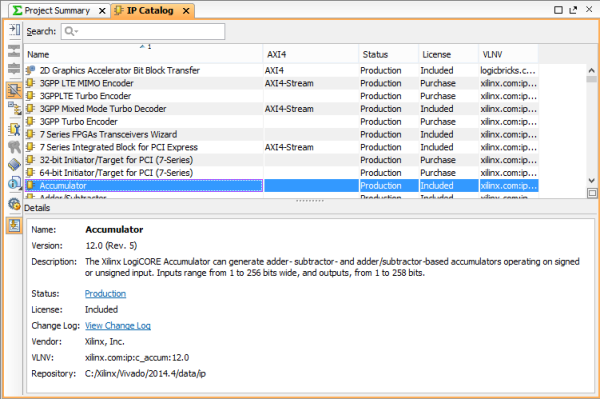 A zoomed in image of the IP catalog. You can view details about the IP below the list.