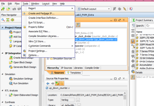 To create an IP go to the Tools menu and select Create and Package IP.