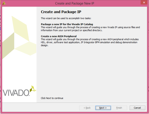 The create and package IP wizard will open. Select Next.