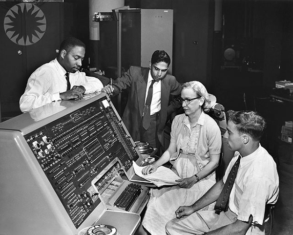 Grace Hopper at the keyboard of UNIVAC. Source: Wikimedia Commons