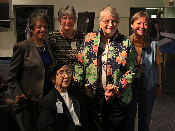 "Many women worked with Mrs. Johnson in the ""computer"" pool at Langley. LtR: Christine Darden, Katherine Johnson, Janet Stephens, Katherine Smith and Sharon Stack. Souce: NASA"