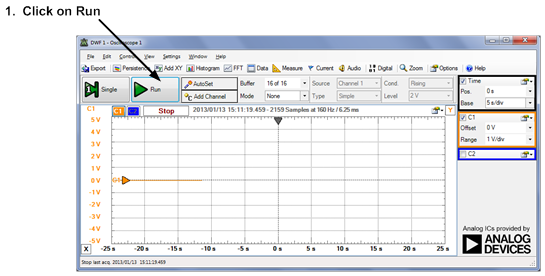 Using WaveForms software to begin acquiring data from the oscilloscope.