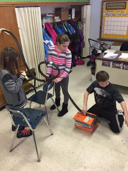 CIESE students testing roller coaster projects.