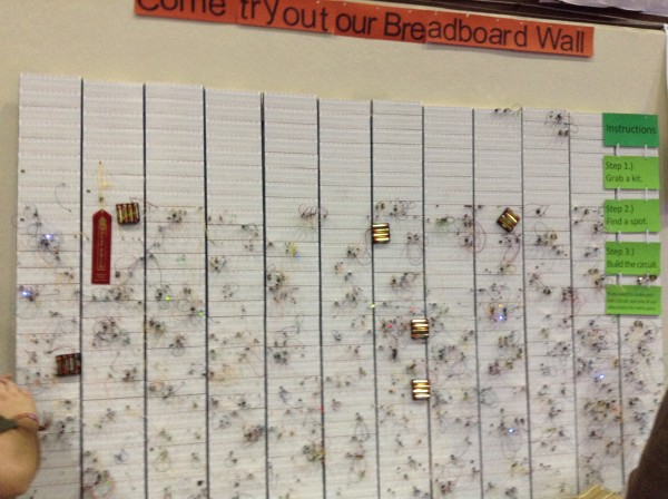 The breadboard wall after all the circuits had been mad