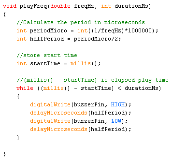Code to play a desired frequency for a set period of time.