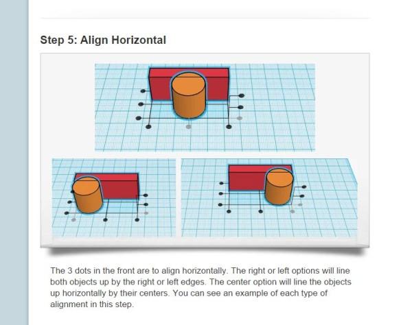 The options to align horizontally.