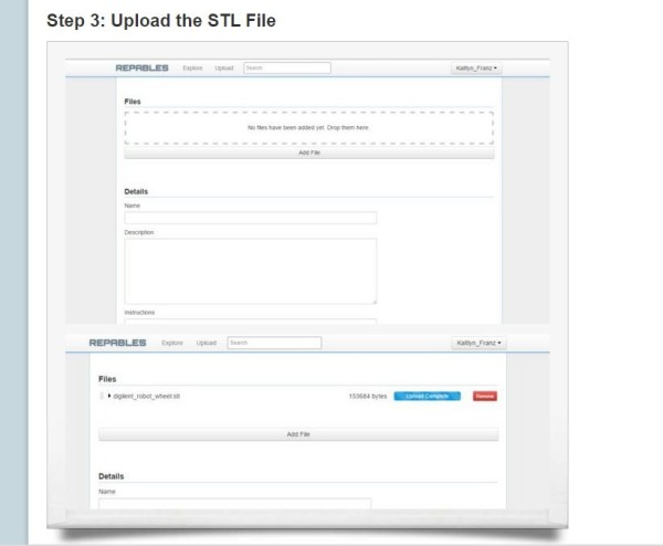 The first step in creating a repable, uploading a STL file.