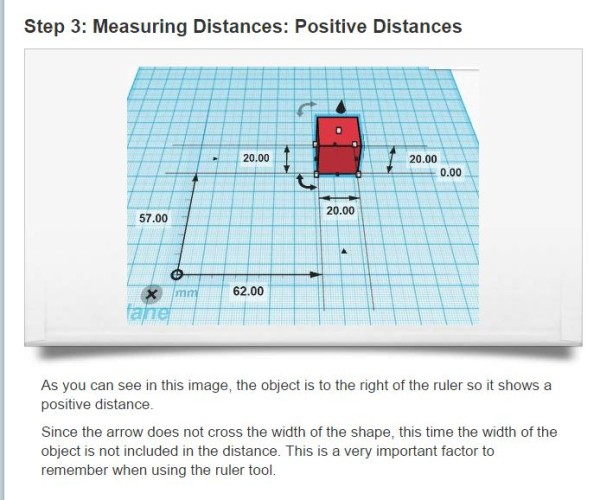 Positive distances using the ruler tool.