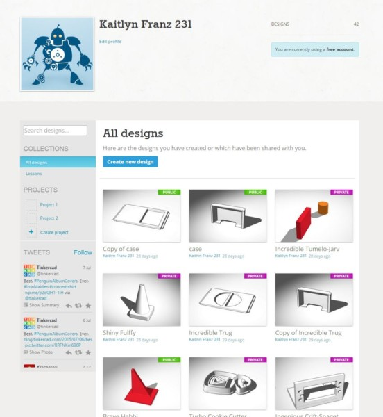Tinkercad. You can see all of my designs stored on my profile page.