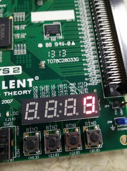 The seven-segment display shows your score.