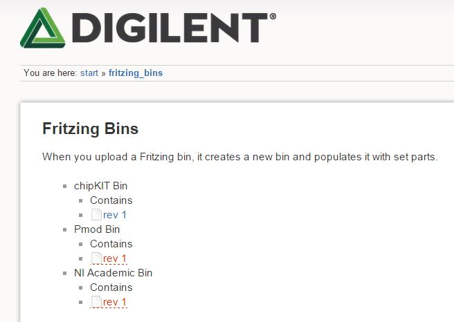 The Fritzing Bin page of the reference Wiki.