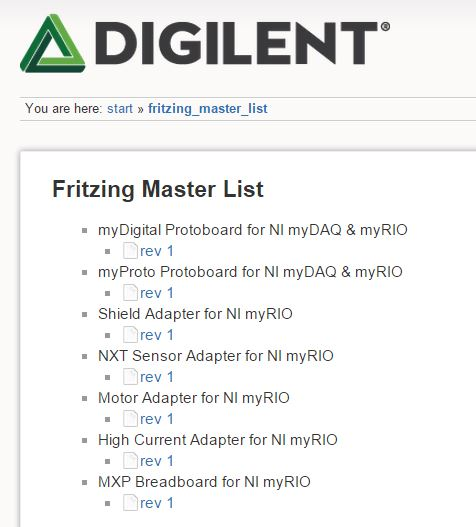 The reference wiki page for the master list of Fritzing parts