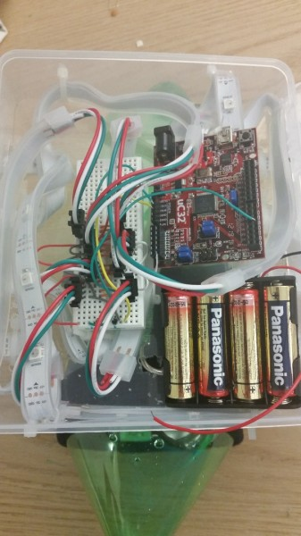 The actual physical circuit inside of the project box.