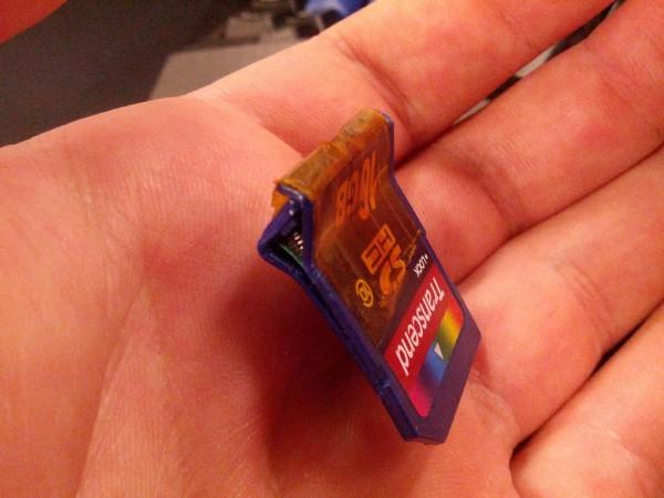 The broken SD card.