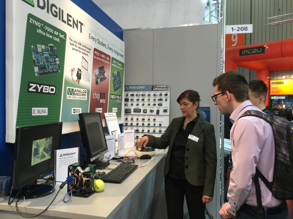 Cristina showcase our demos to attendees in Embedded World 2015