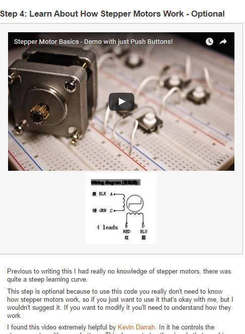 Here I link to a video on stepper motors and describe stepper motors at the most basic level.