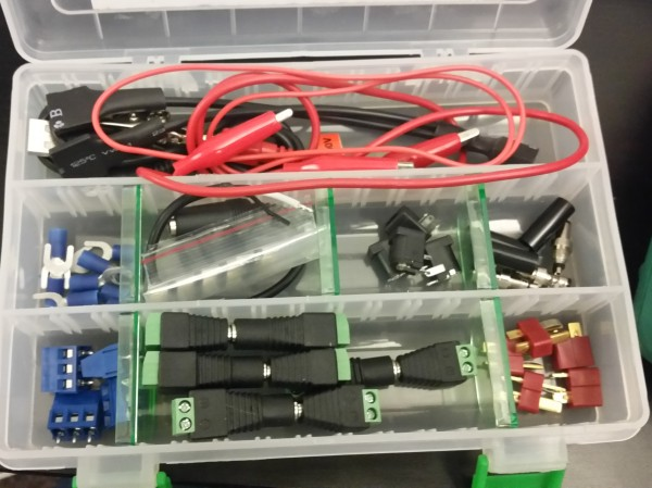 My connector box. Anything I might need to connect pieces of a demo together. Alligator clips, screw terminials, barrel jacks, t-connectors, and more!