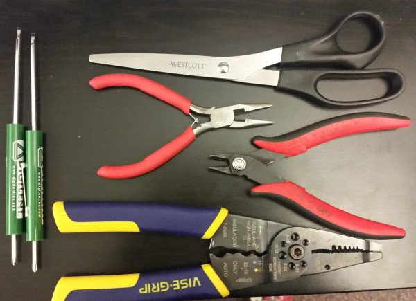 Of course you need some tools; pliers, wire cutters, scissors, wire strippers, and screwdrivers.