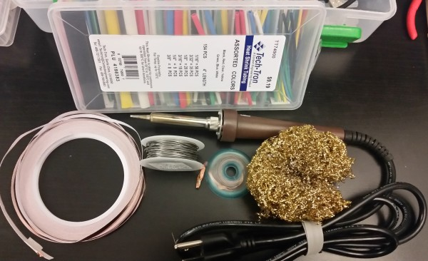 In case of electrical failure, soldering supplies. Here I have heat shrink, solder, solderwick, the metal sponge thing that I'm not sure what it's called, and copper tape.