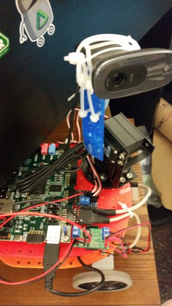 My mechanical fix of the Zybot, which consisted of a large amount of zipties.