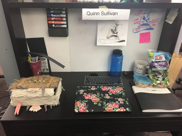 My Monster Book of Monsters project displayed on my desk.