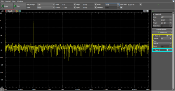 The same 1 kHz sine wave, but now on the spectrum analyzer. Note the spike at 1 kHz and noise everywhere else.