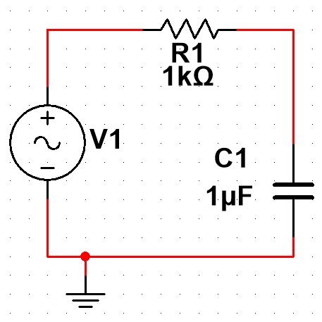 A simple passive low-pass RC filter.