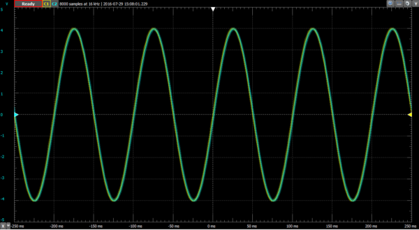 10 Hz signal through the RC low-pass filter. Note how the traces nearly match.