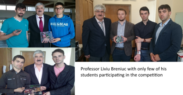 Professor Breniuc with three of the participating and wining teams